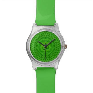 Emerald Green Lotus flower meditation wheel OM Wristwatch
