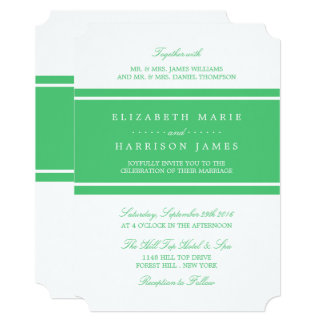 Emerald Green Modern Wedding Card