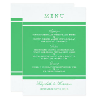 Emerald Green Modern Wedding Menu Card