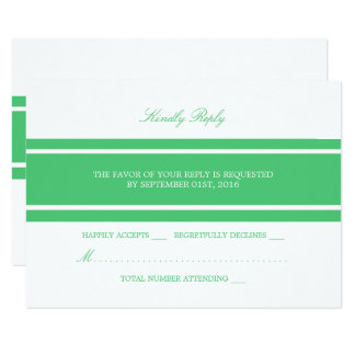 Emerald Green Modern Wedding RSVP Card