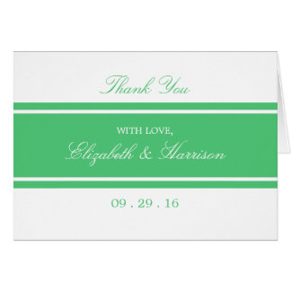 Emerald Green Modern Wedding Thank You Card