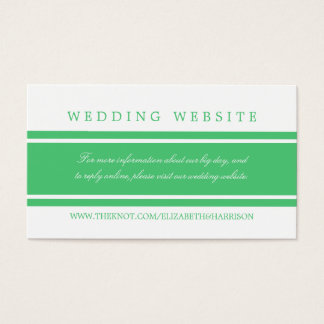 Emerald Green Modern Wedding Website Business Card