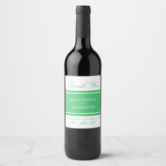 Emerald Green Modern Wedding Wine Label