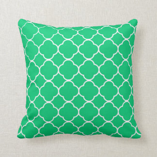 Emerald Green Moroccan Quatrefoil Pattern Cushion