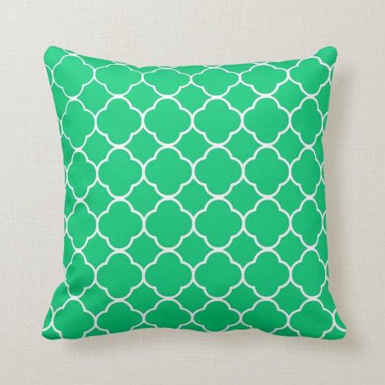 Emerald Green Moroccan Quatrefoil Pattern Cushion