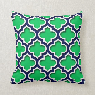 Emerald Green Navy White Moroccan Quatrefoil #5DS Throw Pillow