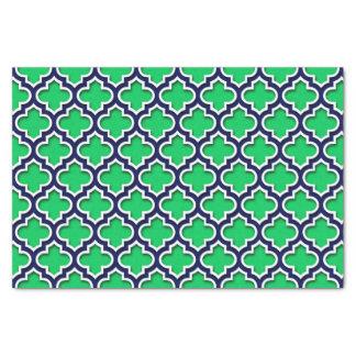 Emerald Green Navy White Moroccan Quatrefoil #5DS Tissue Paper