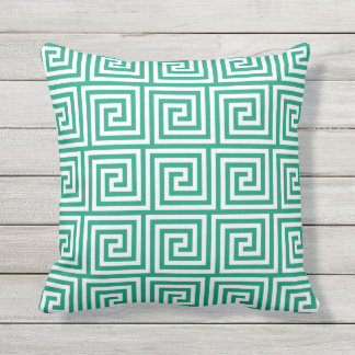 Emerald Green Outdoor Pillows Greek Key