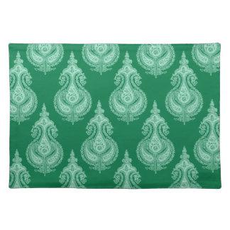 Emerald green paisley customizable placemats