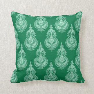 Emerald green paisley throw pillow