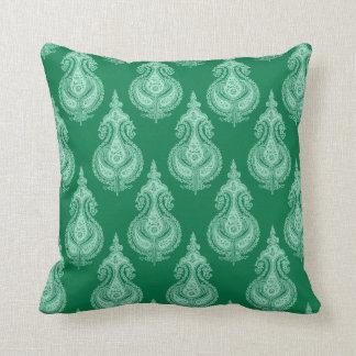 Emerald green paisley throw pillow
