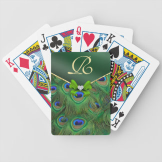 Emerald Green Peacock Monogram Playing Cards