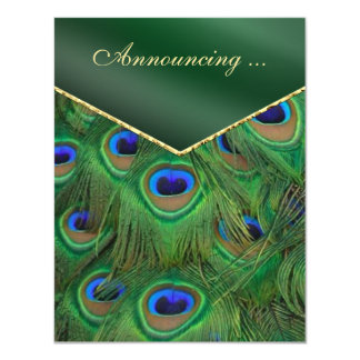 Emerald Green Peacock Wedding Announcement