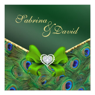 Emerald Green Peacock Wedding Invitation
