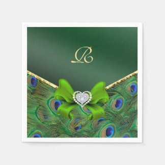 Emerald Green Peacock Wedding Paper Party Napkins Paper Napkins