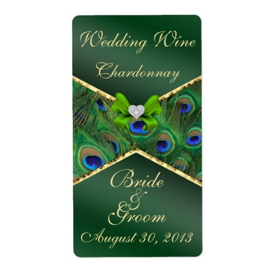 Emerald Green Peacock  Wedding Wine Label Shipping Label