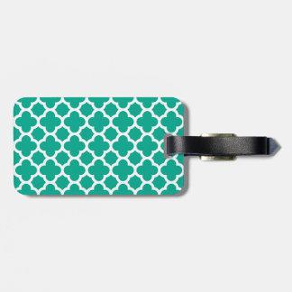 Emerald Green Quatrefoil Trellis Pattern Bag Tag
