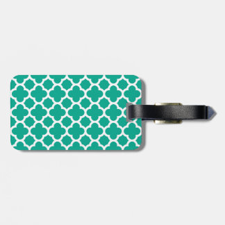 Emerald Green Quatrefoil Trellis Pattern Luggage Tag