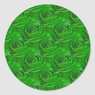 Emerald Green Rose Center Wallpaper Pattern Classic Round Sticker