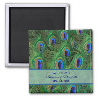 Emerald Green Royal Blue Peacock Feathers Wedding Square Magnet
