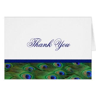 Emerald Green Royal Blue Peacock Thank You Card