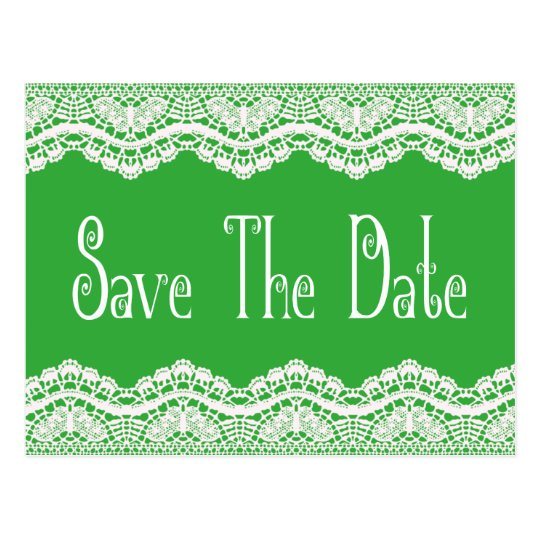 Emerald Green Save the Date Vintage White Lace Postcard