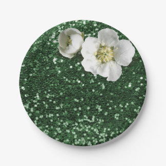 Emerald Green Sequin Floral White Jasmine Glitter 7 Inch Paper Plate