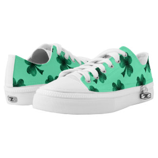 Emerald Green Sparkles Shamrock Clover turquoise Low-Top Sneakers