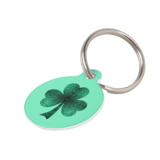 Emerald Green Sparkles Shamrock Clover turquoise Pet Tag