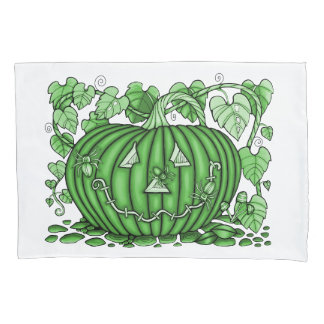 Emerald-Green Spidery Pumpkin Pillowcase