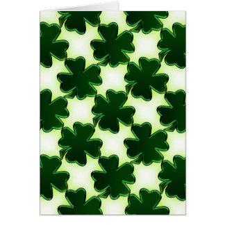 Emerald Green St. Patricks Day Shamrocks Note Card