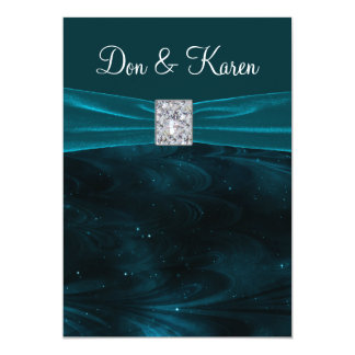 "Emerald Green Swirls Wedding 5"" X 7"" Invitation Card"