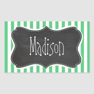 Emerald Green Vertical Stripes; Vintage Chalkboard Sticker