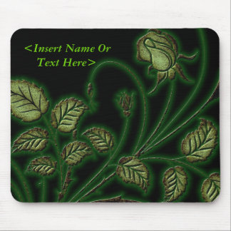 Emerald Green Vines Floral Mouse Pad