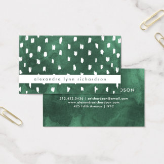Emerald Green Watercolor with Trendy Dots Business Card