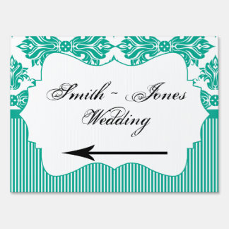 Emerald Green White Damask Wedding Direction Sign