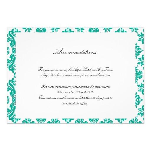 Emerald Green White Damask Wedding Insert Personalized Invites