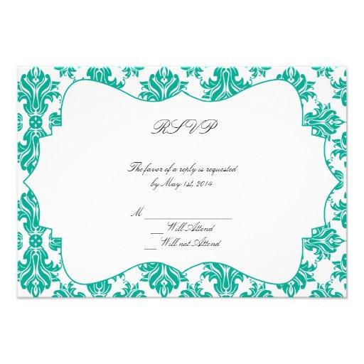Emerald Green White Damask Wedding Response Card Personalized Invitation