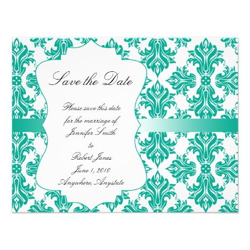Emerald Green White Damask Wedding Save the Date Invite