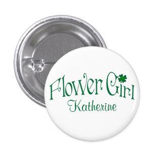 Emerald Green, White Shamrock Flower Girl Button