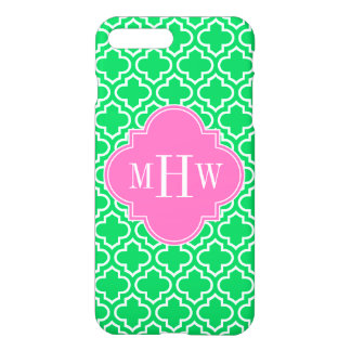 Emerald Green Wht Moroccan #6 Hot Pink 3I Monogram iPhone 7 Plus Case