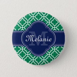 Emerald Green Wht Moroccan Pattern Navy Monogram 2 Inch Round Button
