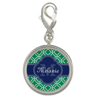 Emerald Green Wht Moroccan Pattern Navy Monogram Charm