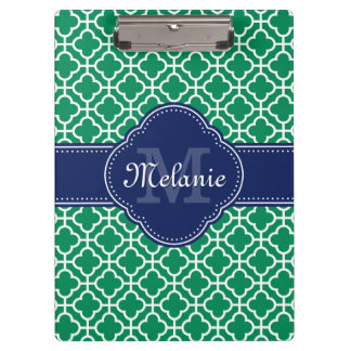 Emerald Green Wht Moroccan Pattern Navy Monogram Clipboard