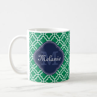 Emerald Green Wht Moroccan Pattern Navy Monogram Coffee Mug