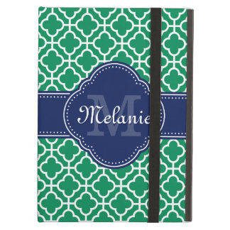 Emerald Green Wht Moroccan Pattern Navy Monogram Cover For iPad Air