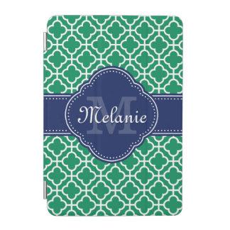 Emerald Green Wht Moroccan Pattern Navy Monogram iPad Mini Cover