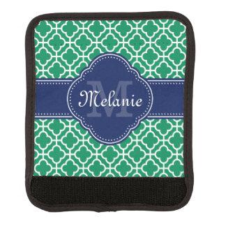 Emerald Green Wht Moroccan Pattern Navy Monogram Luggage Handle Wrap