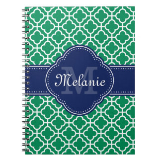 Emerald Green Wht Moroccan Pattern Navy Monogram Notebooks