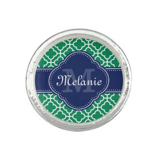Emerald Green Wht Moroccan Pattern Navy Monogram Ring